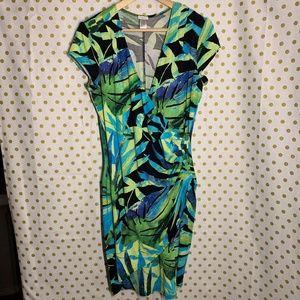 Cache faux wrap bodycon blue green dress size XL